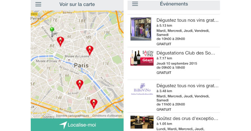 Vinexplore application mobile evenement vin interface