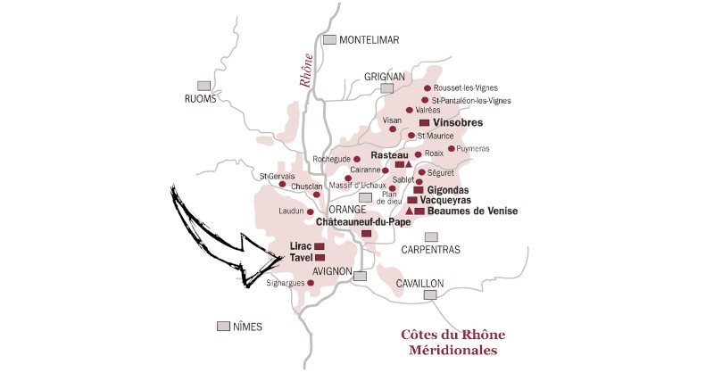 blog vin beaux-vins carte vignoble tavel vallee rhone