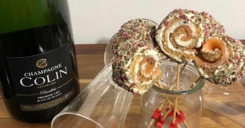 Sucettes de saumon fumé cranberries champagne colin blanc de blancs premier cru